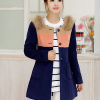 Long Sleeve Single Breasted Wool Coat with Real Fur Collar