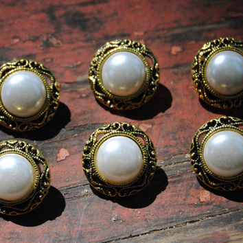 Vintage Style Antiqued Gold Decorative Craft Buttons - 6 Metalized Plastic and Faux Pearl Buttons