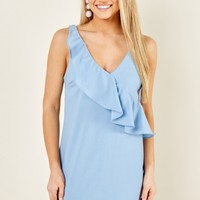 Everly Pretty Frills Powder Blue Dress