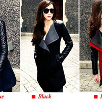 Long Warm Leather Sleeve Jacket Coat Trench