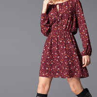Floral Print Long-Sleeve Drawstring Dress