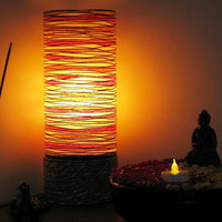 Exquisite Ambiance Lamp (RED) - #lamp #handmade #homedecor  #lighting #table lamp #corner lamp #cylindrical lamp #mothersday #gift