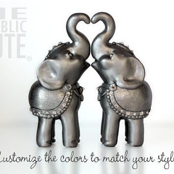 Decorated Indian Elephant Wedding Cake Toppers - Swarovski Crystal Embellishments - Your Choice of Color Combinations