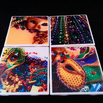 New Orleans Mardi Gras Masks and Beads Ceramic Tile Coasters Set of 4