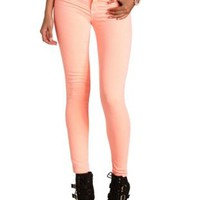 "Refuge ""Skin Tight"" Colored Denim Leggings - Neon Coral"