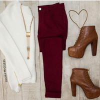 Try To Skinny Jeans - Burgundy