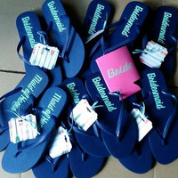 Navy Blue Bridal party flip flops, Bride's Sandals, Wedding dance shoes, Personalized bridesmaids gift