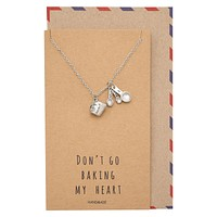 Carmel Gifts for Mom Bakers Kitchen Charm Necklace Funny Greeting Card