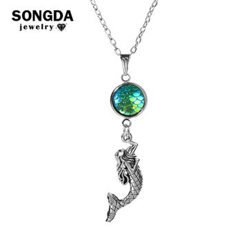 SONGDA Lovely Fantasy Mermaid Necklace Glisten Mermaid Scales Fish Pendant Necklaces for Women Girls Party Gift Animals Jewelry