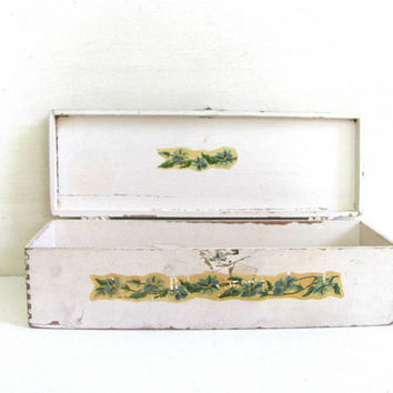 painted Vintage Cigar Box with decoupage flowers
