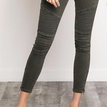 Jade Cotton Denim Moto Jeans in Olive