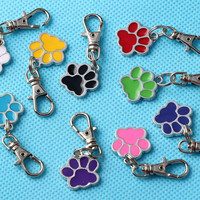 Mixed Color DOG CAT PAW PRINT Key Chain Vintage Silver Clasp Key Ring For Keys Car Bag Gifts Couple Handbag Keychain 20PCS  P01