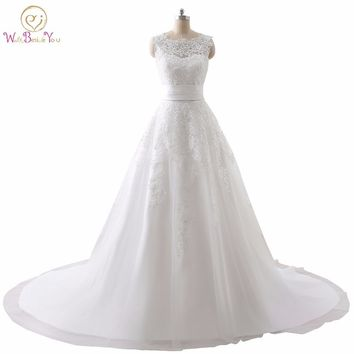 Luxury Wedding Dress Real Photo Cheap Bridal Gowns Lace Wedding Dresses Removable Skirt A-line Detachable Skirt Free Shipping