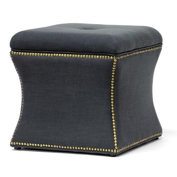 Baxton Studio Shrewsbury Dark Gray Linen Modern Ottoman Set of 1