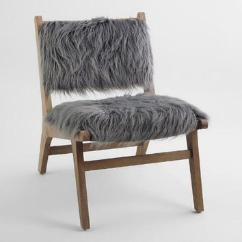 Charcoal Gray Faux Flokati Gunnar Chair