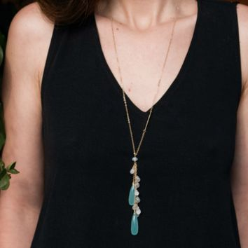 Long Double Drop Cascade Chalcedony & Moonstone Necklace
