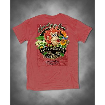 Southern Vine Originals Funny Liquor Quicker Red Monkey Unisex Salmon Bright T-Shirt