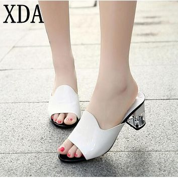 XDA 2017 Peep Toe Heels Women slippers Sexy Open Toe Wedge Slides Shoes Women High Heels Sandals Platform Flip flops X348