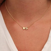 PEAPUF3 Hot 26 Letter & Heart-shaped Charm Pendant Necklace Women Simple Name Necklace Lovers Gift Gold Color Initial Choker