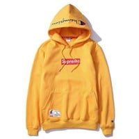PEAPHD2 Champion And Supreme Fashion Pullover Embroidery Tops Sweater Hoodie Yellow