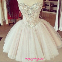 Light pink beaded short prom dress/ ball gown short prom dress/ cocktail dress/ reception dress