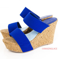 Oceanside Drive Cobalt Blue Cork Wedge Sandals
