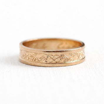 Antique Victorian Band - Vintage 8k Yellow Gold German Wedding Ring Late 1800s - Flower Engraved Ich Liebe Dich Size 8 Cigar Jewelry Unisex