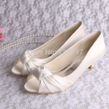 Wedopus Custom Handmade 2016 Low Heel Ivory Wedding Shoes Open Toe Autumn Spring