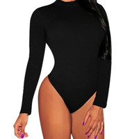 Rompers Womens Jumpsuit Sexy Lady O neck Long Sleeve Backless Bodycon Bandage Bodysuit Slim Short Overalls Black Playsuit S-XL