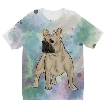 Watercolor French Bulldog Designs by Amitie Kids Sublimation TShirt