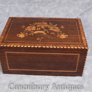 Canonbury - Antique Cigar Box 1930s Marquetry Inlay Trinket Jewellery Case