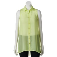 Candie's Sleeveless Button-Down Juniors' Tunic Top, Size: