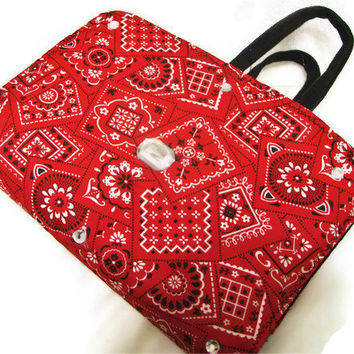 Bible Cover Red Bandana and Light Denim