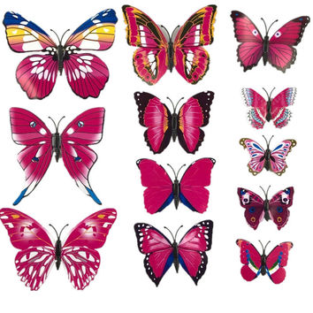 12Pcs/Set DIY Pvc Butterfly 3D Vintage Vinilos Wall Stickers For Kids Rooms Wallpaper Poster Bathroom Flowers Wall Decals L01