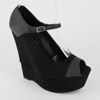 suede maryjane wedge $26.20 in BLACK - Colorblocking | GoJane.com