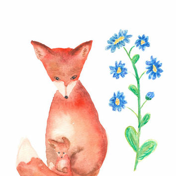 Woodland Nursery Art, Fox Art, Woodland Animal Art, Prints, Nursery Decor, Kids Wall Art, Mamma Fox and her Baby Fox Watercolor Print 8.5x11