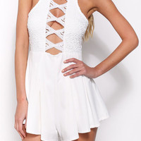 White Cut-out Sleeveless Flared Romper
