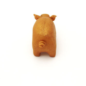 golden pig polymer clay miniature pig totem tiny pig gold figurine