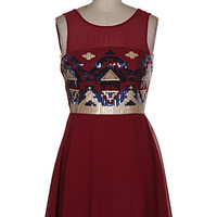 Sequin Tribal Top Chiffon Dress - Burgundy