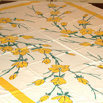 Vintage Card Table Tablecloth Yellow Tulips Design | 50's Tablecloth | Table Cover | Yellow and Green Cotton Floral Tablecloth