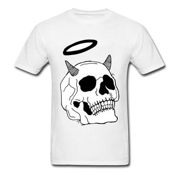 Skull Print Men White T-shirt Summer Cotton
