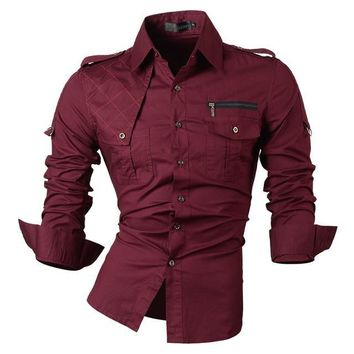 Long Sleeve Men Casual Button Up Shirt