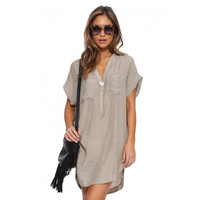 V-neck Short Front Short Sleeve Mini Dress