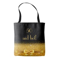 50 and hot elegant gold bow with sparkle black tote bag