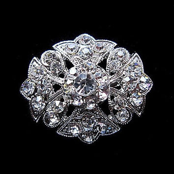 (12 pieces/lot) Beautiful Rhodium Silver Plated Clear Crystal Rhinestone Brooches Pins