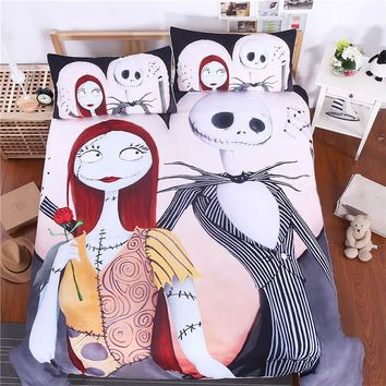 Sugar Skull Comforter Bedding Set King Queen Size Luxury Xmas Nightmare Christmas 3pcs Bed Duvet Covers Single Sheets Set Linen