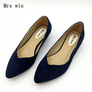 Spring Autumn Fashion Brand Shoes Women Pointed toe Flock Slip On Shallow Mouth Pumps Shoes Ladies Low Heel Single Shoes