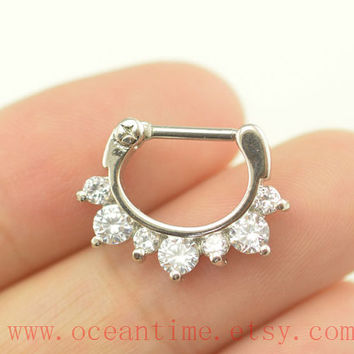 septum piercing ring,glitter diamond nose ring ,316L Surgical Steel Nose Rings,septum piercing,girlfriend gift,oceantime