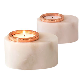 Caprice Marble Tea Light Candle Holder Set