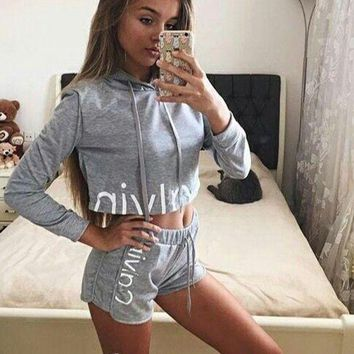 Calvin Klein Fashion Print Hoodie Shirt Top Shorts Set Two-Piece